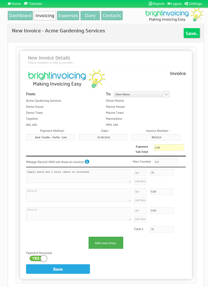 easy invoicing
